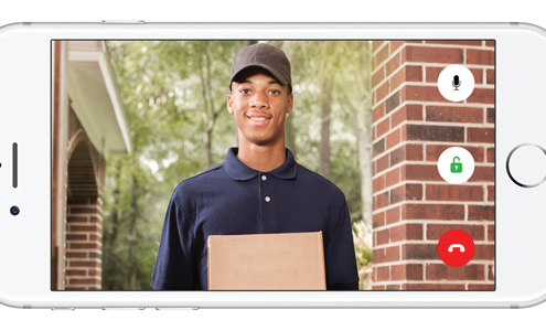 App view of a delivery man at the front door